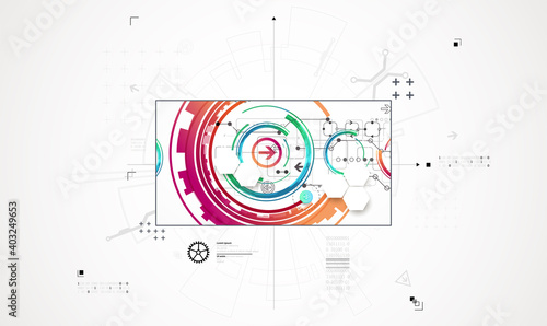 Abstract technology background. Communication concept, futuristic digital innovation background. Vector illustration