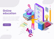 Online education isometric landing page, web banner. Student learning distant video tutorials via website or application at huge screen of smartphone. Lesson in internet school, university or college.