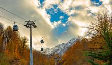 Lift At The Ski Resort Krasnaya Polyana, Sochi, Russia