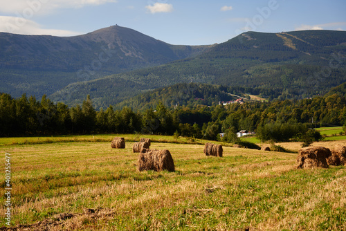 Hay and haycock on a cloudy day in the autumn in the Karkonosze moutains, Giant Moutains in Poland