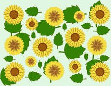 Yellow Brown Flowers And Green Leaves On A Light Green Background For Textile And Paper Design