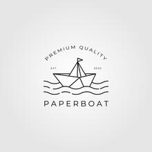 Paper Boat Logo Line Art Minimalist Vector Emblem Illustration Design