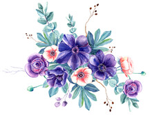 Purple And Rose Anemones, Gentle Leaves, Spring Summer Floral Elements Clip Art. Stock Illustration. Isolated Elements On A White Background. Hand Painted In Watercolor.