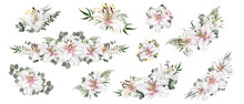 Vector Set Of Compositions With White Lilies