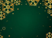 Gold Falling Snow And Green Gradient Abstract Background