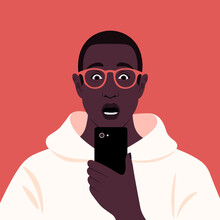 Shocked African Man Looks Into His Smartphone. Portrait Of A Guy Who Opened His Mouth In Surprise. Vector Flat Illustration