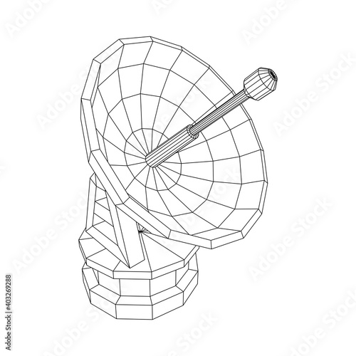 Fotografia Radar. Directional radio antenna with satellite dish