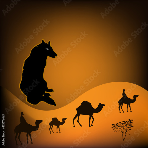 She-wolf, camel caravan, dunes, desert - hot sun - art, abstract, illustration - vector Fototapet