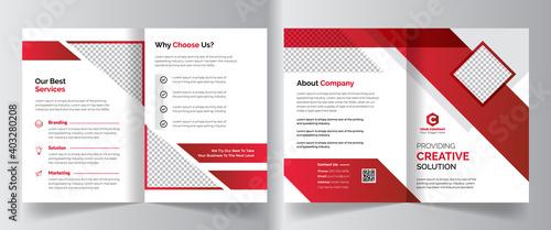 Fototapeta Creative colorful corporate business bifold brochure template design for creative, corporate company bifold leaflet, magazine, annual report, booklet, business plan, print & promotion obraz