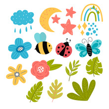 Set Of Bright Spring Elements - Leaves, Flowers, Bee, Butterfly, Ladybug, Rainbow In Vector Graphics On A White Background. For Design Of Postcards, Posters, Prints For Packaging, Covers