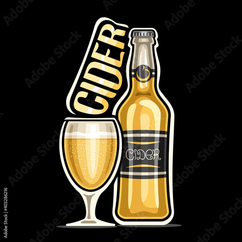 Canvas Print Vector logo for Cider, outline illustration of yellow bottle with decorative label and full glass of refreshing drink, square placard with unique design lettering for word cider on black background