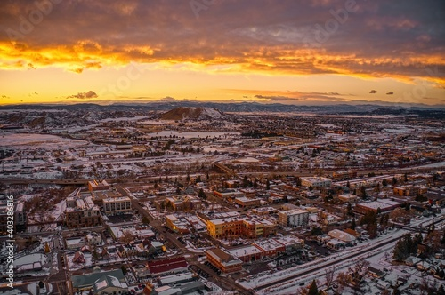 Aerial View of the Suburban Community of Castle Rock, Colorado during Sunset