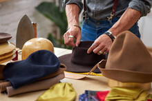 Hat Sewing By Designer In Workshop, Professional Craftsman Making Handmade Hats, Professional Atelier Giving Shape To Hat