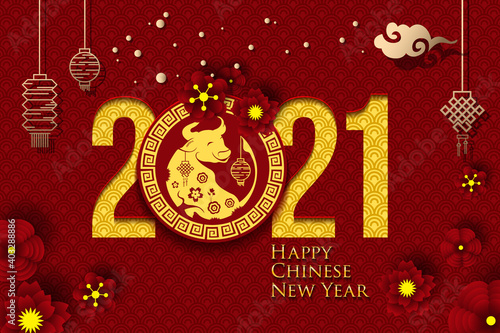 Obraz 2021 Chinese New Year Greeting Card. Year of the Ox. Chinese New-Year. Paper cut with Ox and Flowers. gong xi fa cai 2021. Hieroglyph - Zodiac Sign Ox. Place for your Text. - fototapety do salonu