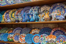 ISTANBUL, TURKEY - APRIL 24, 2018: Collection Of Turkish Ceramics On Sale At The Grand Bazaar In Istanbul, Turkey.