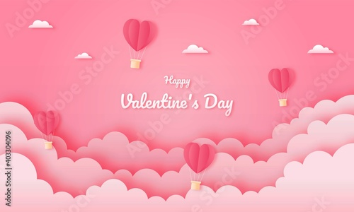 paper cut happy valentine's day concept. landscape with cloud and heart shape hot air balloons flying on pink sky background paper art style. vector illustration.