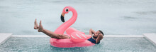 Happy Man Relaxing In Swimming Pool Flamingo Float Despite Bad Rain Weather. Travel Summer Vacation Banner