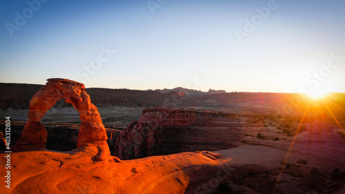 Foto Delicate Arch, Arches National Park. Sunset.