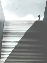 Illustration Of Man Rising Minimal Abstract Stairs Of Shadow, Surreal Concept