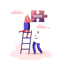 Core Values Concept. Tiny Male Female Businesspeople Characters Stand On Ladder Holding Huge Puzzle Piece Mission