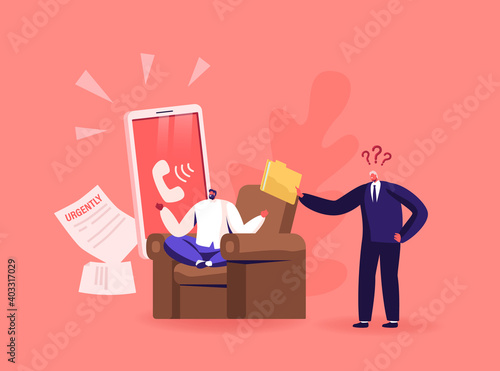 Obraz Angry Furious Boss Character Yelling at Male Employee Scolding for Incompetent Work. Businessman Worker Ignoring Problem - fototapety do salonu