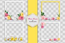 Empty Photo Frame Template With Spring Flowers Set For Media Post In Social Network. Vector Illustration EPS10