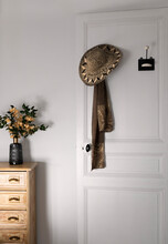 White And Gold Interior, Desk With Drawers And Vase Flowers, Door, Hat And Scarf, Hangers