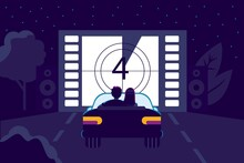 Drive-in Movie Theater With Open Air Parking Flat Style Movies Vector Illustration Couple In Love Watching Movie Sitting In Car Outdoor Cinema In The Night City