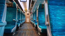 Empty Seats In The Transit Car. Public Transport Movement Along The Route. Viral Infection Quarantine. The Interior Of The Carriage.