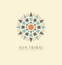 Sun Tribal Made From Geometric Shapes. Ancient Symbol Concept. Native Emblem Heraldic Vector Design.
