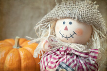 Original Autumn Photograph Is A Close Of The Smile Of A Stuffed Scarecrow With A Mini Pumpkin On Tan