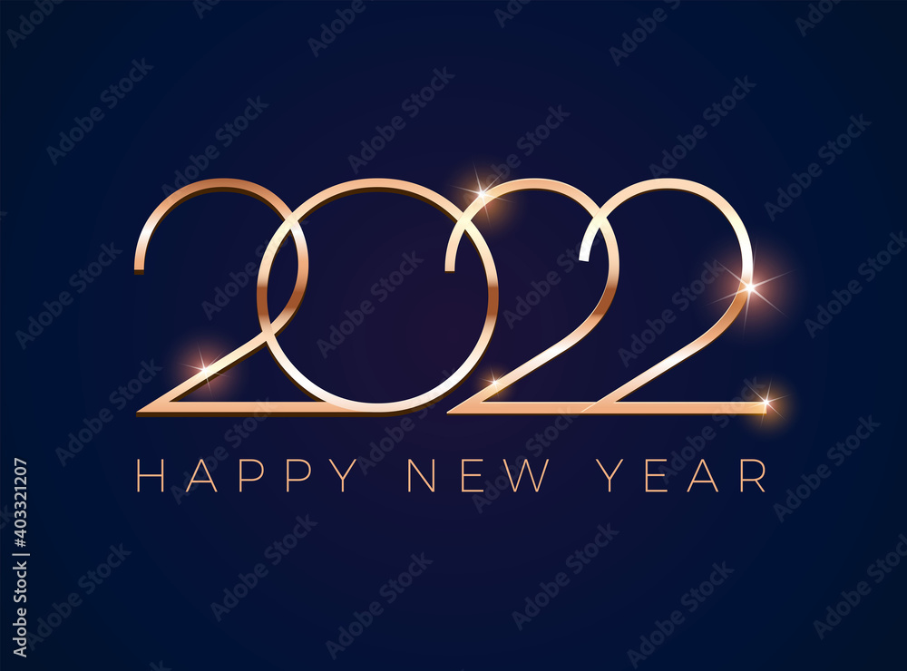 Fototapeta Luxury 2022 Happy New Year design greeting card - golden shine 2022 on dark blue background - vector