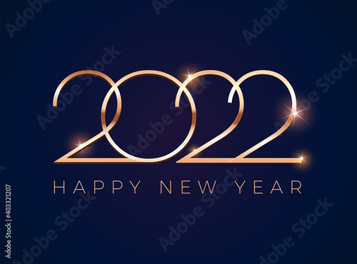 Fototapeta Luxury 2022 Happy New Year design greeting card - golden shine 2022 on dark blue background - vector obraz