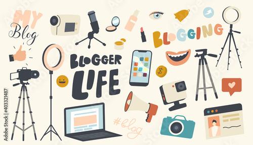 Obraz Set of Icons Blogger Life Theme. Video Camera, Light Equipment, Laptop and Photo Camera, Smartphone, Smiling Mouth - fototapety do salonu