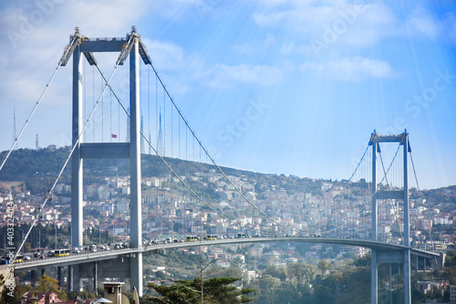 Fotografiet 15th July Martyrs Bridge (in Turkish 15 Temmuz Sehitler Koprusu ) Bosphorus Bridge, Istanbul, Turkey with panoramic view of the city
