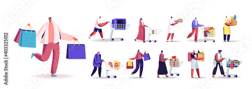 Stampa su Tela Set of People with Shopping Packages Buying Grocery, Gifts