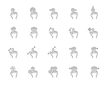 Set Of Touch Screen Gestures Line Icon. Hand Click, Finger Multi Touch, Cursor Pointer And More.