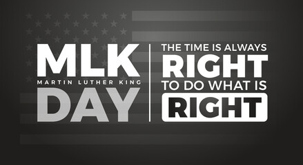 Fototapeta Boks Martin Luther King Jr. Day typography lettering background - design with inspirational Martin Luther King's quote - US flag background for MLK poster, banner