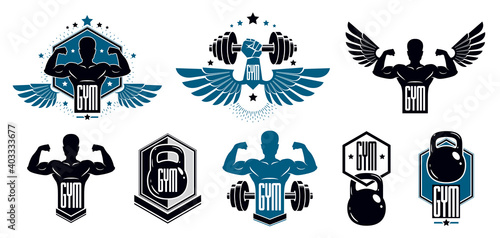 Gym fitness sport emblems and logos vector set isolated with barbells dumbbells kettlebells and muscle body man silhouettes and hands, athletics workout sport club, active lifestyle Fotobehang