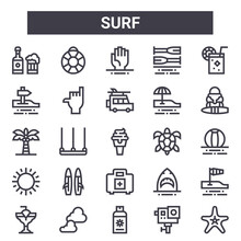 Surf Outline Icon Set. Includes Thin Line Icons Such As Beer, , Turtle, Shark, Action Camera, Drowning, Starfish, Van. Can Be Used For Report, Presentation, Diagram, Web And Mobile Design