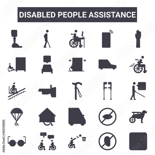 Tela disabled people assistance outline icon set