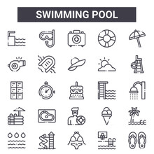 Swimming Pool Outline Icon Set. Includes Thin Line Icons Such As Springboard, Whistle, Springboard, Ice Cream, Basketball, First Aid Kit, Flip Flops, Pamela Hat. Can Be Used For Report,