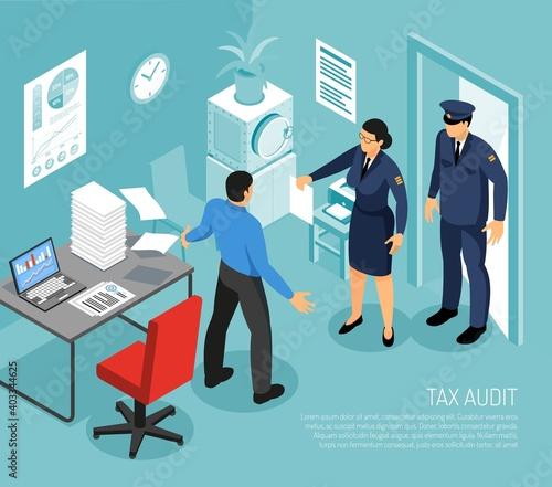 Fototapeta Tax Audit Isometric Composition