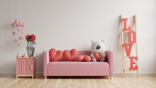 Mock Up Wall Valentine Room Modern Interior Have Sofa And Home Decor For Valentine's Day.