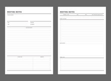 Meeting Notes Planner Template. Clear And Simple Printable To Do List. Business Organizer Page. Paper Sheet. Realistic Vector Illustration.