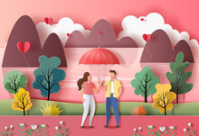 Cute Couple In Love Holding An Umbrella In A Park In Paper Illustration, 3d Paper.