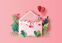 Gift Box With Heart Balloon Floating With A Love Letter In Paper Illustration, 3d Paper.
