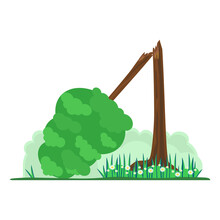 Broken Tree. The Concept Of Damage Or Destruction Of Nature And The Environment. The Green Tree Fell To The Ground. Vector Image. Flat Style.