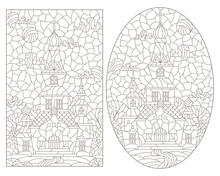 Set Of Contour Illustrations In Stained Glass Style With Temples On A Landscape Background, Dark Outlines On A White Background