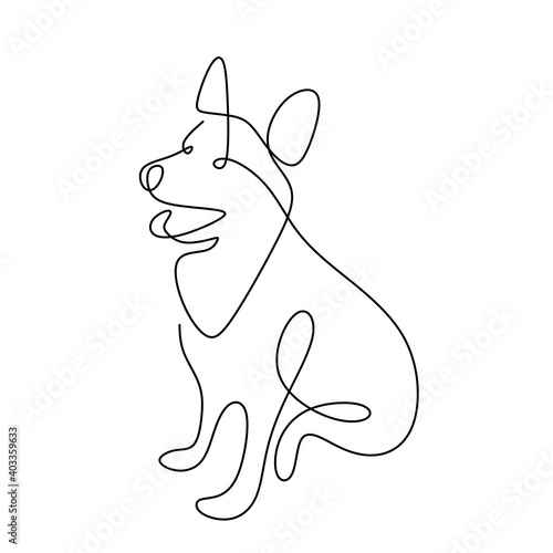 Obraz Hound dog hand drawing continuous line on white background. A cute dog is sitting on the ground single one line art minimalism style. Wildlife animals concept. Vector pet design illustration - fototapety do salonu